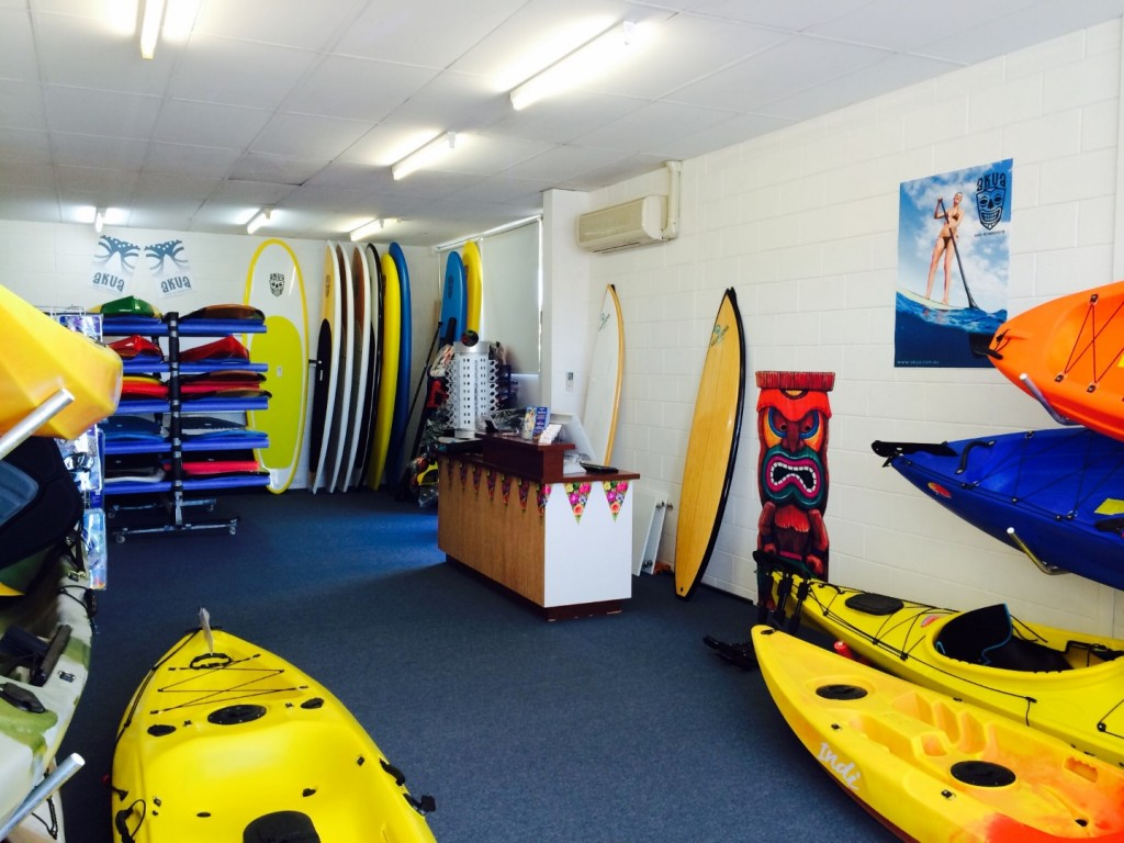 Easy Kayaks SUP Sales and Kayaks Sales Centre interior at Christies Beach