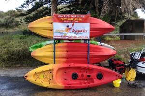 Easy Kayaks trailer with advertising banner