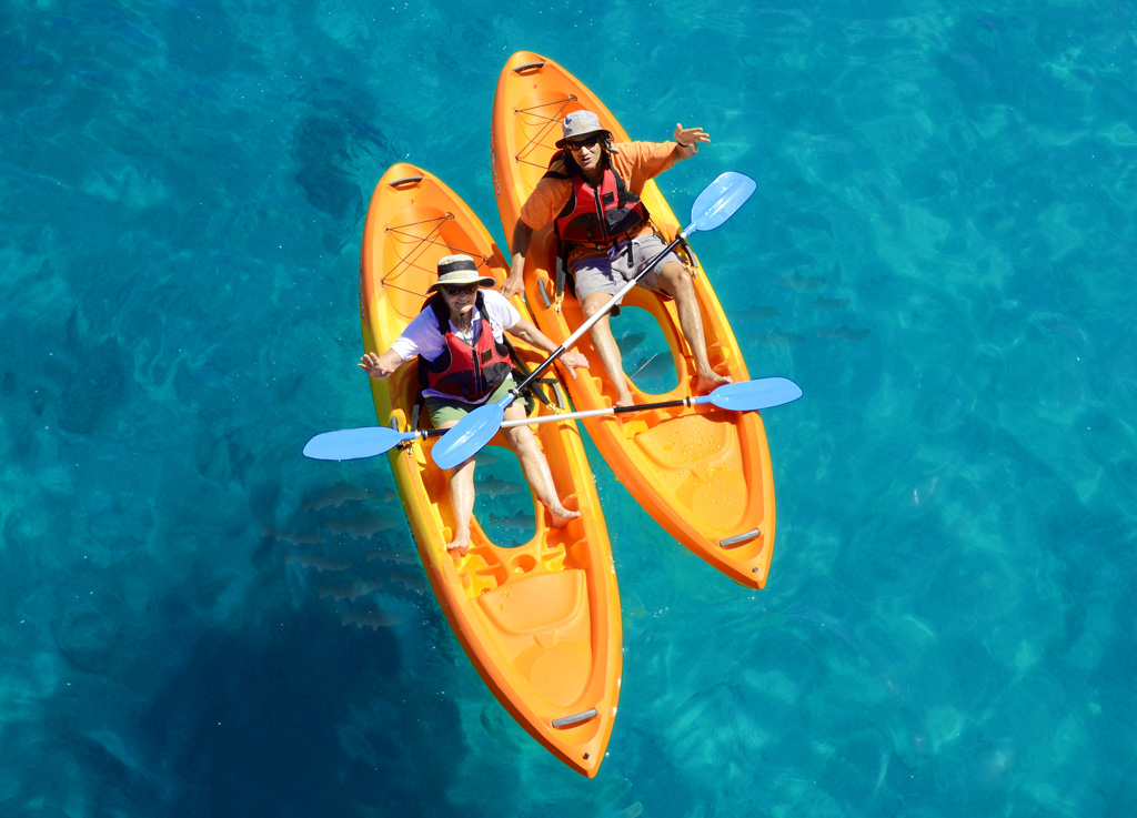See-through, glass bottom kayaks that explore the reef